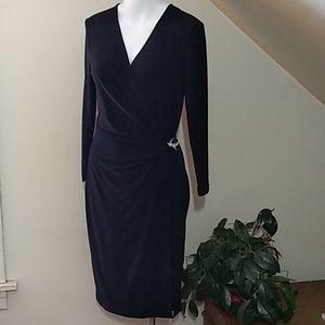 🎉Host Pick🎉Anne Klein long sleeve blk wrap dress